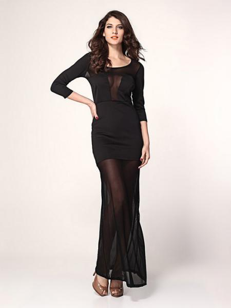 Black Vilanya High Waist Hollow Out Sheer Mesh Plunging Neckline Unlined Long Black Maxi Dress