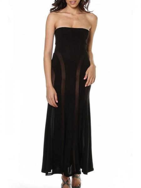 Black High Waisted Lightsome Sheer Mesh Insert Convertible Loose Fitting Lace Strapless Maxi Dresses