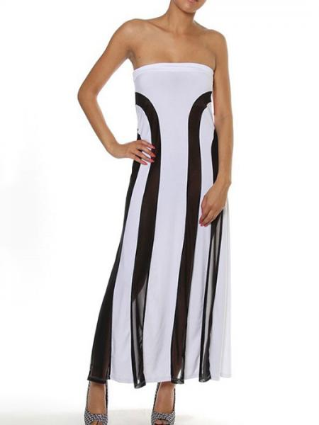 White Black High Waisted Lightsome Sheer Mesh Insert Convertible Loose Fitting Lace Strapless Maxi Dresses