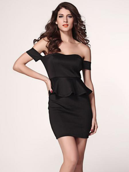 Black Vilanya Slash Neck High Waisted Off Shoulder Short Sleeve Hollow Out Ruffles Peplum Dresses