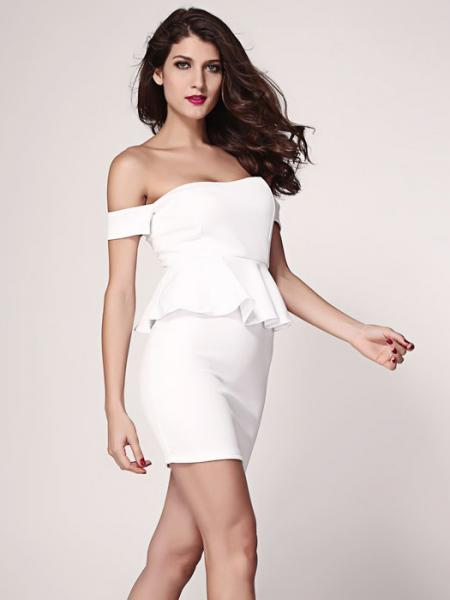 White Vilanya Slash Neck High Waisted Off Shoulder Short Sleeve Hollow Out Ruffles Peplum Dresses