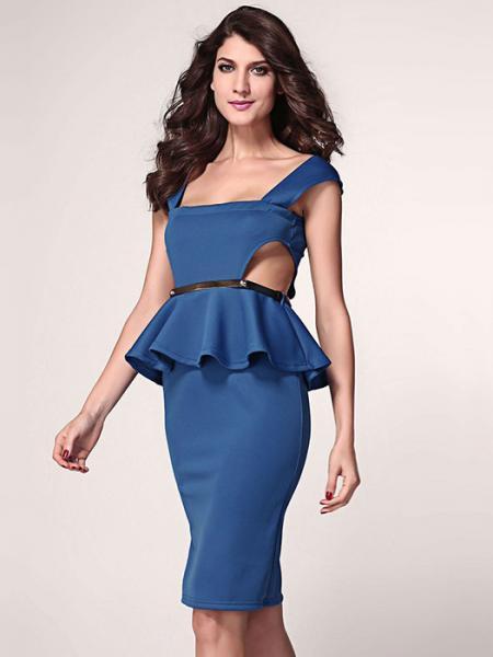 Blue Low Cut Neck High Waisted Sleeveless Cut Out Sides Pleated Gold Waist Midi Ruffles Peplum Dresses