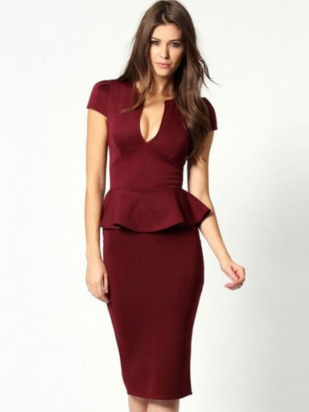 Burgundy Vilanya Girls High-waisted Plunging V Neck Short Sleeve Ruffles Waistline Peplum Midi Dresses