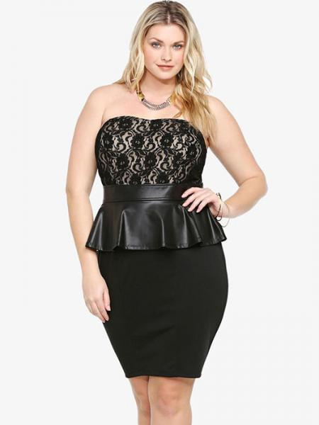 Black Black Strapless Sheer Floral Lace Top Leatherette Waistline and Peplum Mini Tube Dresses
