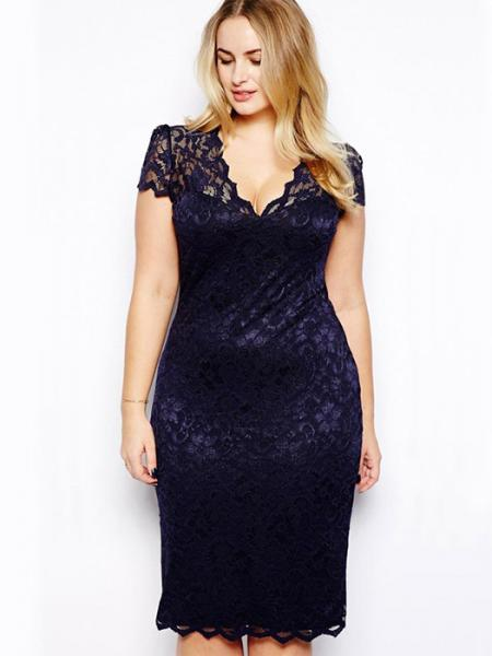 Navy High-waist Scalloped V-neck Short Sleeve Fully Lined Hollow Out Midi Plus Size Lace Dresses