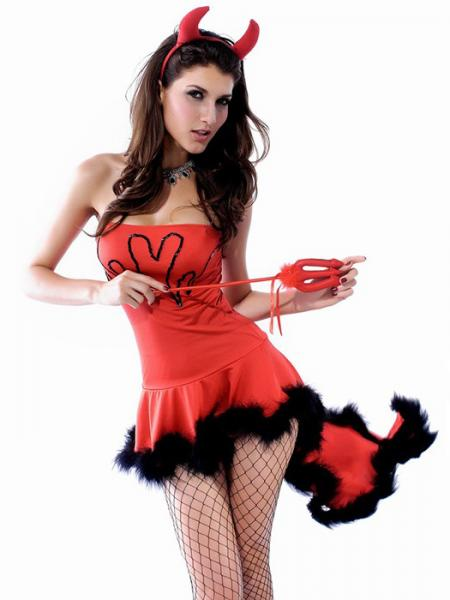 Red Vilanya Red Strapless 3PC Sleeveless Ruffles Lil Devil Woman Halloween Costume Sets
