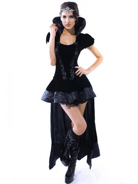 Black Vilanya Black 2 Pieces Short Sleeved Ruffles Wicked Queen Cheap Women Halloween Costumes