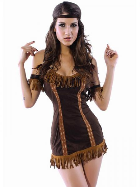 Brown Vilanya Halter Sleeveless 4 Pieces Princess Indian Halloween Costumes For Women