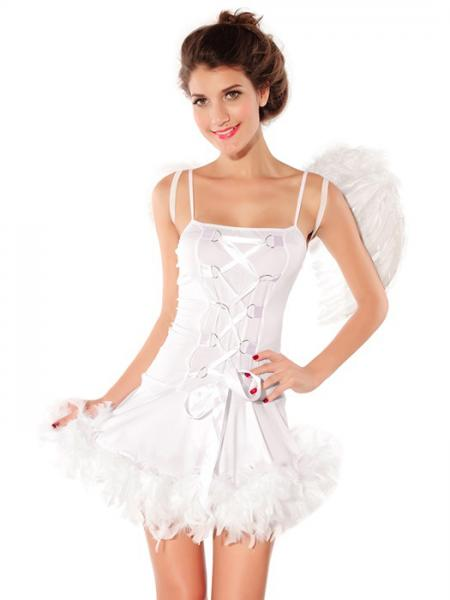 White Vilanya 2 Pieces White Sleeveless Adult Sexy Angel Fairy Halloween Costumes For Women