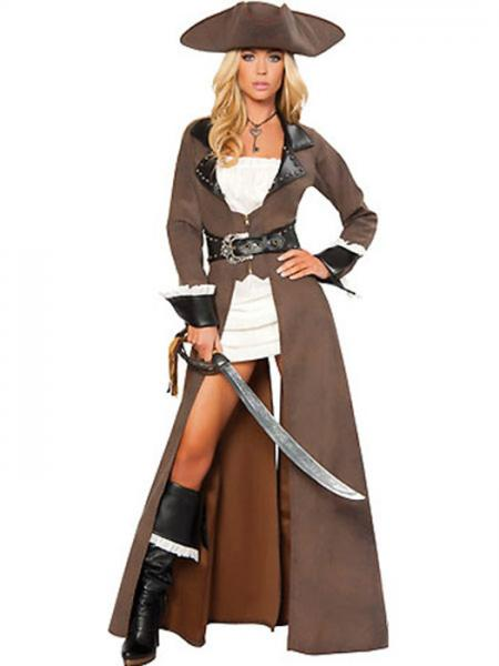 Brown Black Vilanya Long Sleeve 4 Pieces Deluxe Womens Pirate Halloween Costume