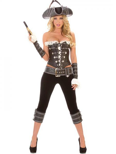Brown Black White Vilanya Strapless & Sleeveless 5 Pieces Pirate Halloween Costumes For Women