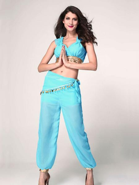 Blue Vilanya Short Sleeve 4 Pieces Sequinded Ruched Genie Top Sexy Halloween Costumes