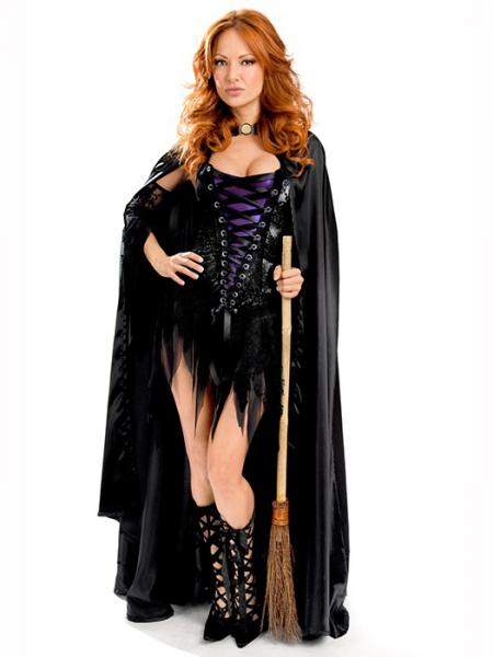 Black Black Vilanya 3 Pieces Lacing Sleeveless Halloween Withes Costumes For Women