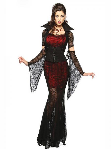 ... Black Red Vilanya Female 4 Pieces Long Sleeve Vixen Vampire Cheap Scary  Halloween Costume