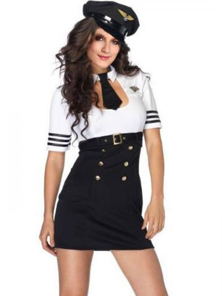 Black White Vilanya 2 Pieces Short Sleeve Pilot Captain Womens Costumes Halloween