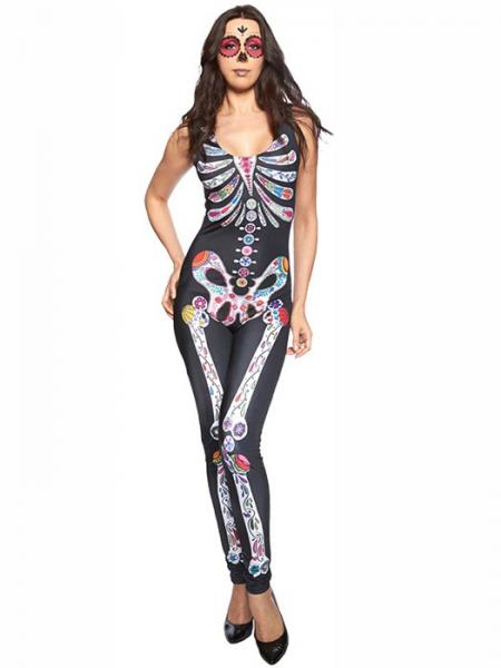 Black White Vilanya Sleeveless One-piece Sugar Skull Catsuit Halloween Scary Costumes