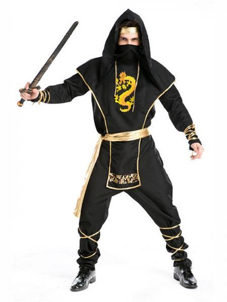 Black Vilanya 5 Pieces Long Sleeve Printed Ninja Cool Halloween Costumes For Men