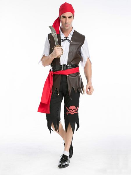 Brown Black Red Vilanya 5 Pieces Short Sleeved Halloween Pirate Costume For Men Sale Online