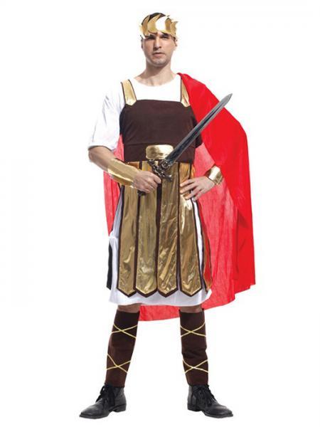 Brown Red Vilanya Five Pieces Half Sleeve Adult Brave Warrior Halloween Men Costumes