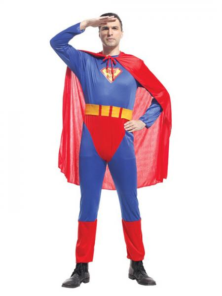 Blue Red Vilanya Three Pieces Long Sleeve Adult Superman Male Halloween Costume Online