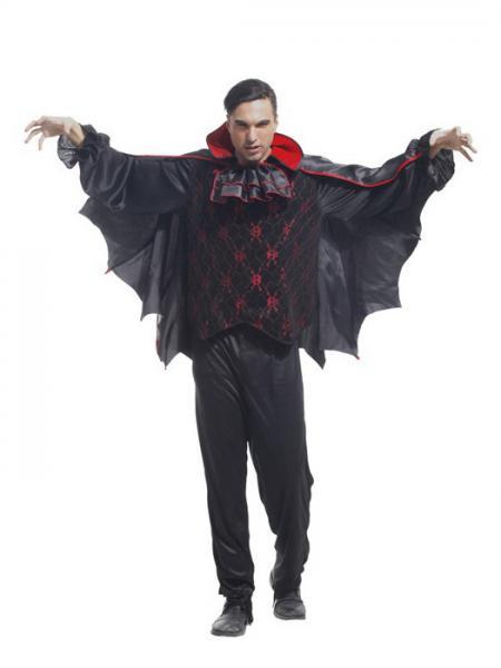 Black Red Vilanya Three Pieces Long Sleeve Vampire Men's Halloween Costumes Cheap Online