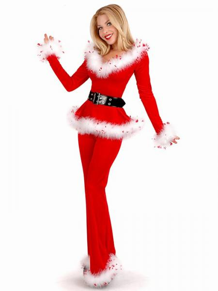 Red Vilanya Three Pieces Off Shoulder Long Sleeve Punk Santa Outfits for Women