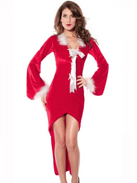 Red White Women Christmas Outfit Ideas One Piece Long Sleeve Cut-out Back Irregular Dress