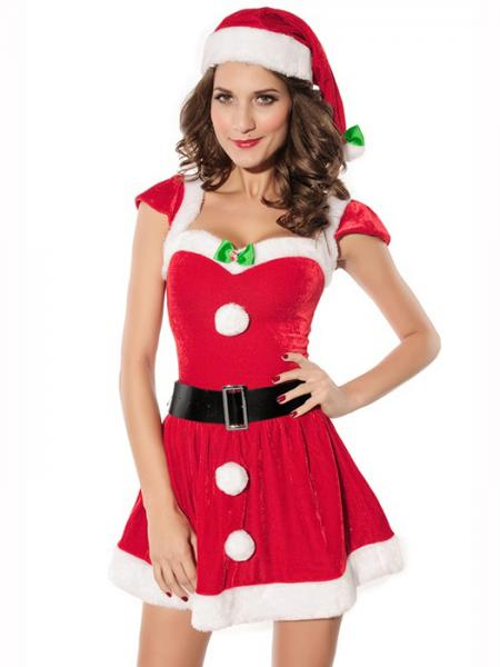 Red White Cheap Vilanya 2 Pieces Short Sleeve Fluff Deck the Halls Mrs Santa Costume Online