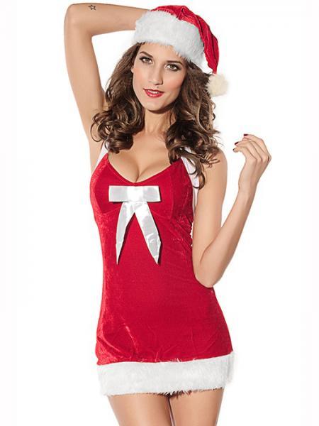 Red White Cheap Vilanya 2 Pieces Sleeveless Fluff V-neck Halter Santa Dress for Girls on Sale