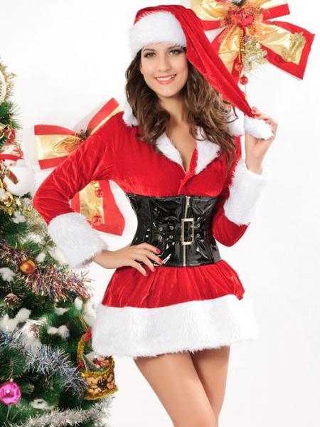 Red Black White Three Pieces Long Sleeve Fluff Stretchy Velvet Santa Costume Women