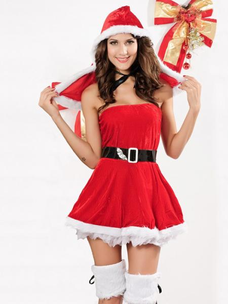 Red White Black 3 Pieces Sleeveless Fluff Women Strapless Dresses Santa Suit for Sale