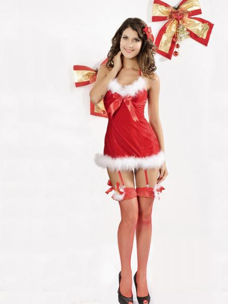 Red White Vilanya One Piece Red V-neck Sleeveless Halter Fluff Women Adult Christmas Costumes