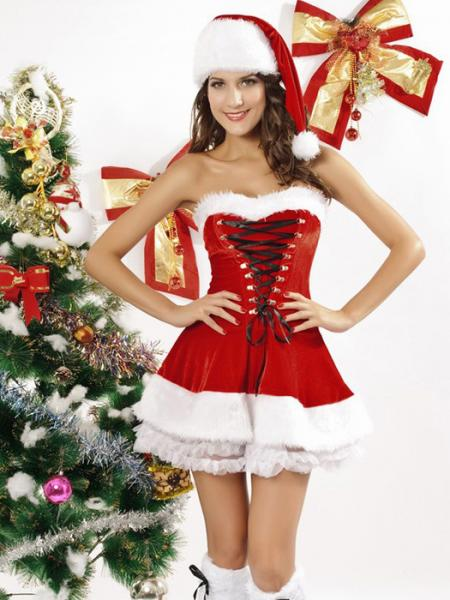 Red White Vilanya Three Pieces Strapless Fluff Sleeveless Ruffles Miss Santa Costume Sale