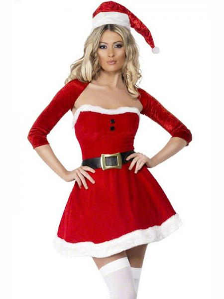 Red White Vilanya Three Pieces Fluff Strapless Ruched Mini Dress Christmas Clothes for Women