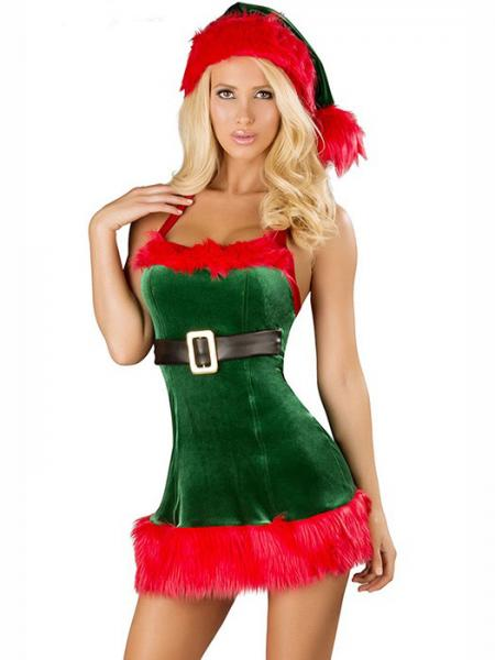 c33813c3ea6 ... Green Red Three Pieces Sleeveless Fluff Hollow Out Halter Women  Christmas Dress Up  Green White ...
