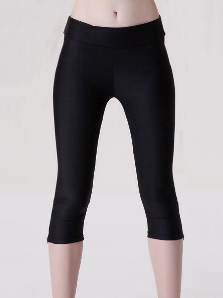 Black Womens Stretchy Fluorescent Side Zipper Mid Length Capri Leggings