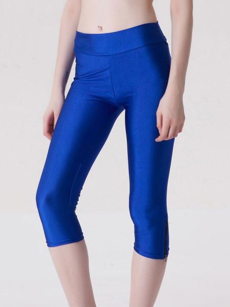 Blue Womens Stretchy Fluorescent Side Zipper Mid Length Capri Leggings