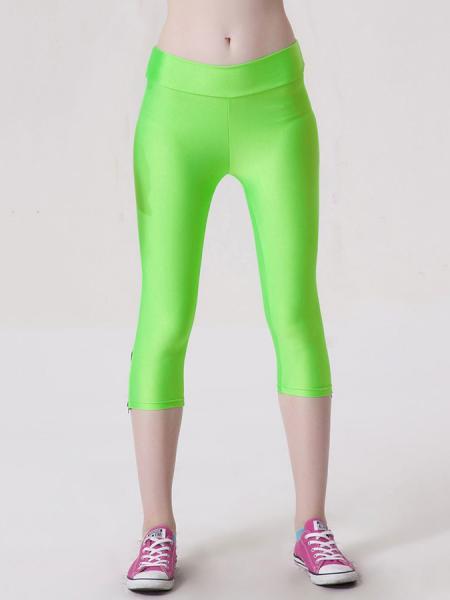 Green Womens Stretchy Fluorescent Side Zipper Mid Length Capri Leggings