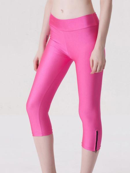 Pink Womens Stretchy Fluorescent Side Zipper Mid Length Capri Leggings