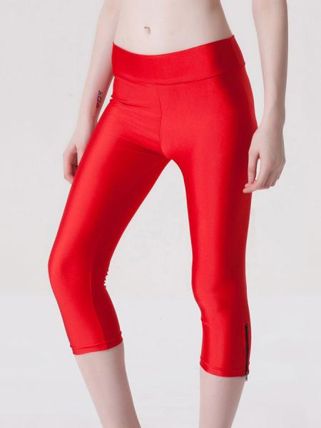Red Womens Stretchy Fluorescent Side Zipper Mid Length Capri Leggings