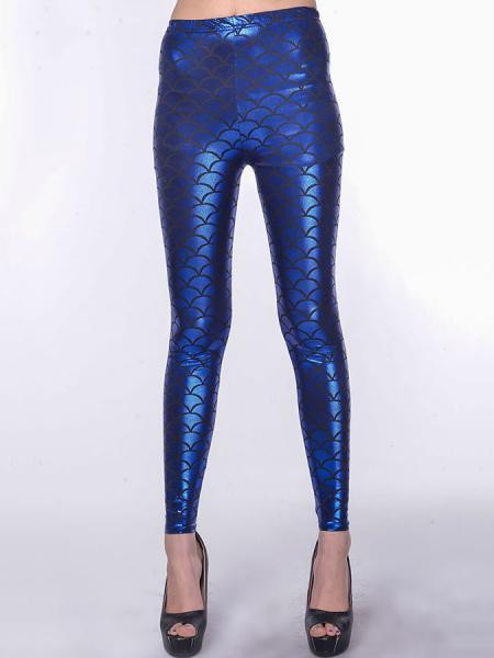 Blue Vilanya Stretchy Shining SKinny Metallic Scales Leggings Store