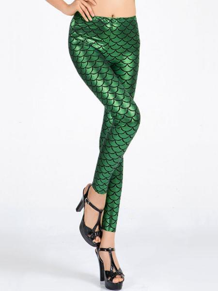 Green Vilanya Stretchy Shining SKinny Metallic Scales Leggings Store