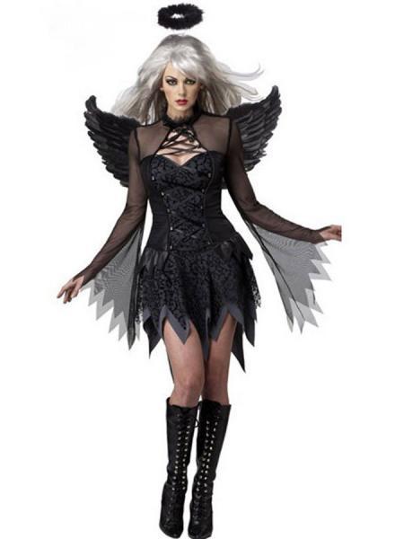 Black Adult 2 PCS Flattering Black Fallen Angel Halloween Costume Womens
