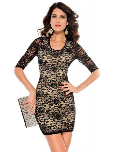 Black Beige Embroidery Vintage Round Neckline Half Sleeved Lace Overlay Fitted Mini Bodycon Dress Australia