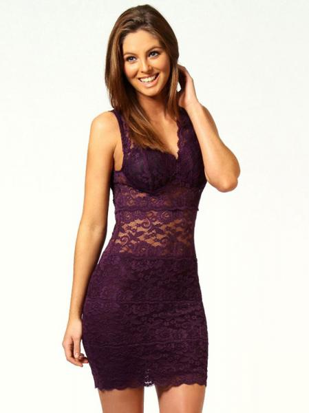 Purple Trendy Sleeveless High Waist V-neck Sexy Purple / Black Embroidery Lace Mini Bodycon Dress