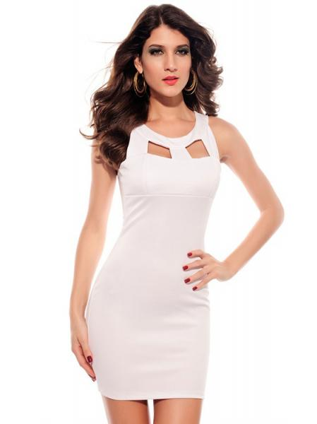 White Vilanya Sleeveless Cutout Chest Crew Neck OL Fashion Mini Bodycon Dresses