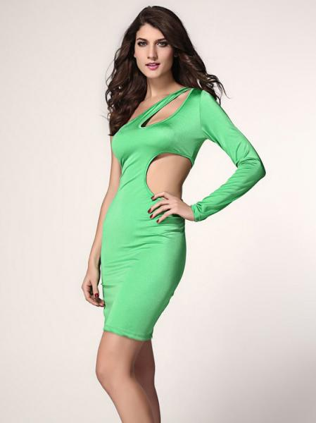 Green Cheap Unique Sexy High Waisted Hollow Out One Long Sleeve Midi Bodycon Dress for Women