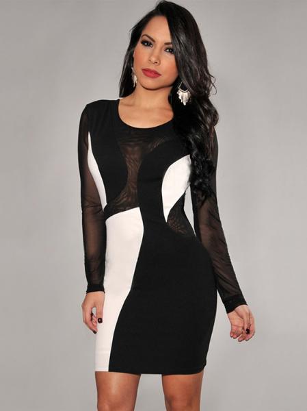 Black White Color Block Long Sleeve High-waisted Mesh Spliced Sexy Mini Bodycon Dresses Long Sleeve