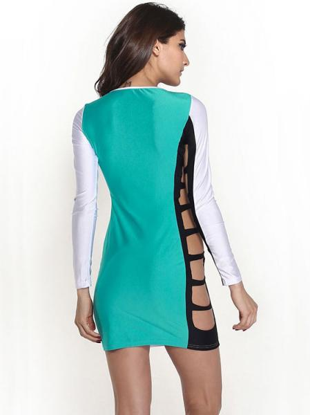 White Green Black Hollow Out High-waist Contrast Color Sided Slits Mini Long Sleeved Mini Bodycon Dress
