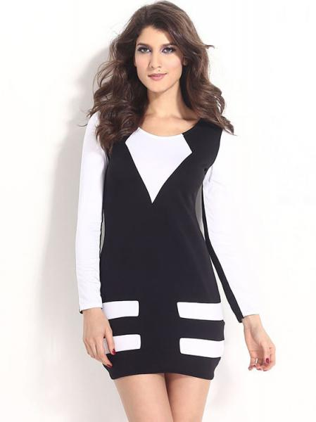 Black White Ladies Contrast Color Long Sleeve High Waist Flattering Mini Casual Bodycon Dresses